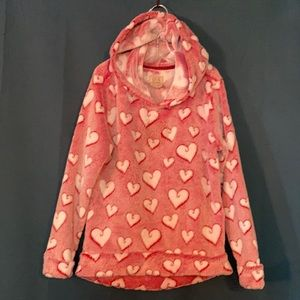 Boston Traders Fluffy Red & White Heart Hoodie